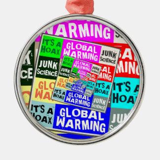 Broma del calentamiento del planeta adorno redondo plateado