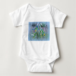 Bromeliad Blossoms on Blue Baby Bodysuit
