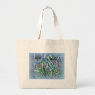 Bromeliad Blossoms on Blue Canvas Bag