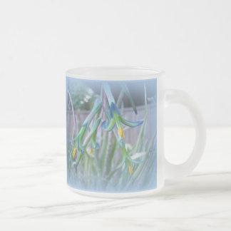 Bromeliad Blossoms on Blue 10 Oz Frosted Glass Coffee Mug