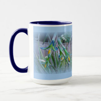 Bromeliad Blossoms on Blue Mug