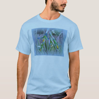 Bromeliad Blossoms on Blue T-Shirt