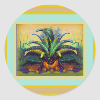 Bromeliad Pkant  with Fruit painting by Sharles Classic Round Sticker