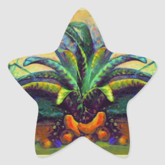 Bromeliad Pkant  with Fruit painting by Sharles Star Sticker