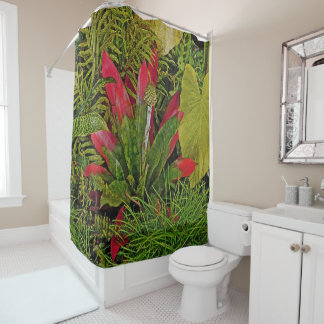 BROMELIAD/RED AND GREEN/SHOWER CURTAIN SHOWER CURTAIN