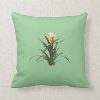 Bromeliad with a flower throw pillow