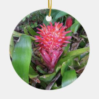 Bromeliade rojo 02 adorno navideño redondo de cerámica