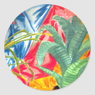 Bromeliads colorful still life classic round sticker