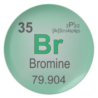 Bromine Individual Element of the Periodic Table Melamine Plate