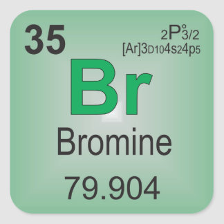 Bromine Individual Element of the Periodic Table Square Sticker