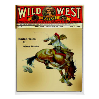 """Bronc Rider"" Cowboy Western Rodeo Poster"