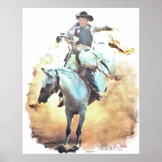 bronc rider print