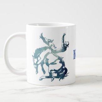 Bronc Rider-The Best Buckin' Dad Blue Giant Coffee Mug