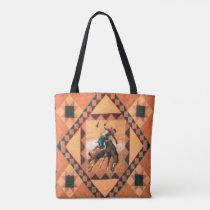 Bronc Rider Western Tote Bag