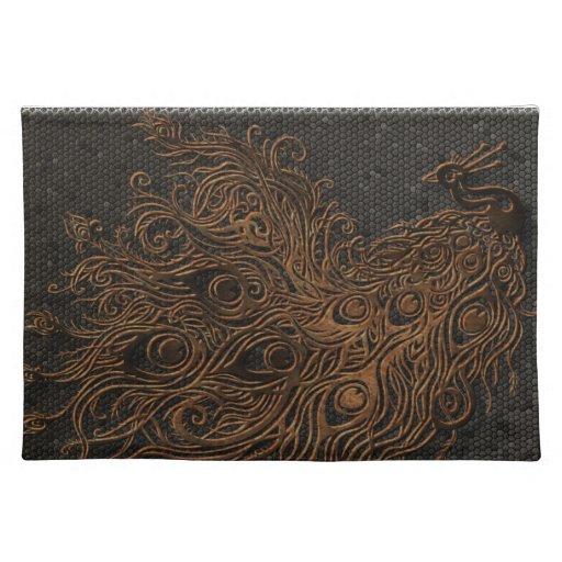 Bronce abstracto del pavo real mantel