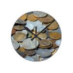 BRONCE DE COBRE del METAL PLATEADO de las MONEDAS  Reloj De Pared
