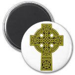 Bronce de la cruz céltica imán redondo 5 cm
