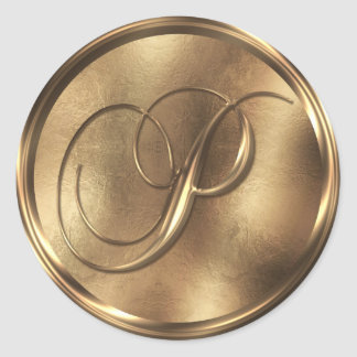 Bronce del monograma P Pegatina Redonda