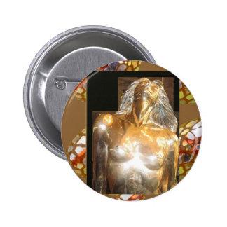Bronce del oro de la estatua de la SIRENA: GRANDES Pin Redondo De 2 Pulgadas