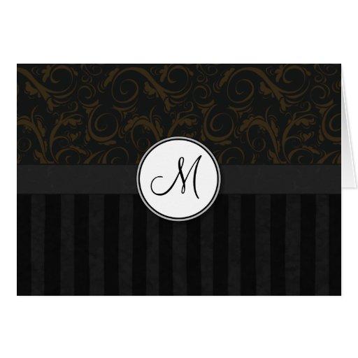 Bronce en briznas, rayas y monograma florales negr tarjeta de felicitación