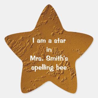 Bronce metálico pegatina en forma de estrella