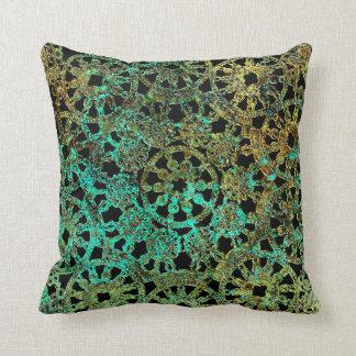 bronce y diseño abstracto del cordón del verde cojín