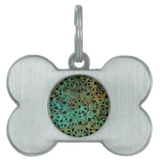 bronce y diseño abstracto del cordón del verde placas mascota