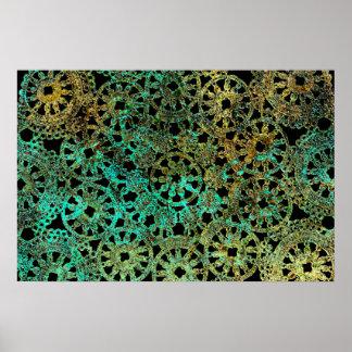 bronce y diseño abstracto del cordón del verde póster