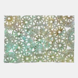 bronce y recorte abstracto del diseño del cordón toallas de cocina