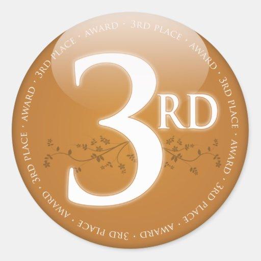 Broncee el tercer 3ro) premio del lugar ( pegatinas redondas