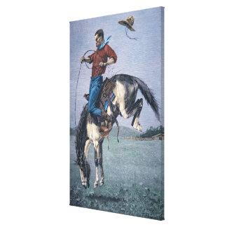 Bronco-Buster (coloured engraving) Canvas Print