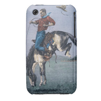 Bronco-Buster (coloured engraving) iPhone 3 Case