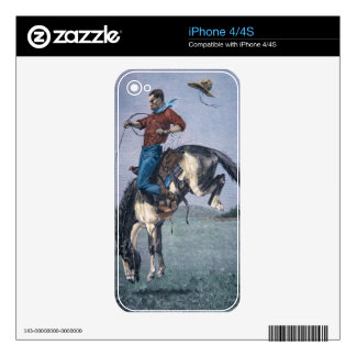 Bronco-Buster (coloured engraving) Decal For iPhone 4