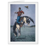 Bronco-Buster (coloured engraving) Greeting Cards