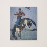 Bronco-Buster (coloured engraving) Jigsaw Puzzle