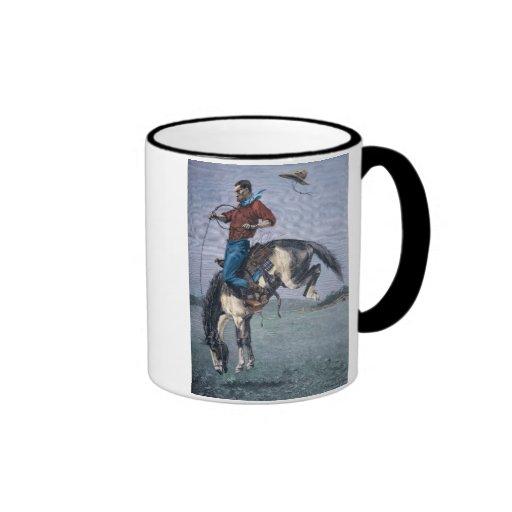 Bronco-Buster (coloured engraving) Mugs