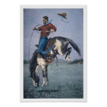 Bronco-Buster (coloured engraving) Print