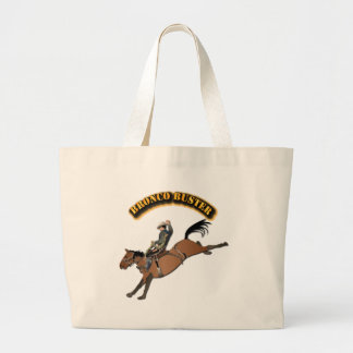 Bronco Buster with Text Large Tote Bag