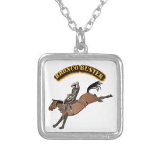 Bronco Buster with Text Silver Plated Necklace
