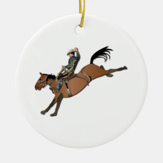 Bronco Buster without Text Ceramic Ornament