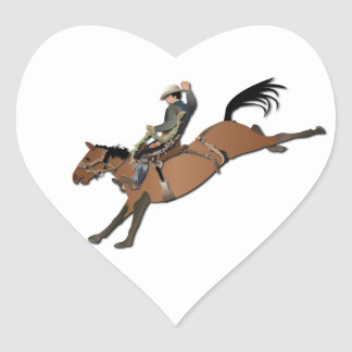 Bronco Buster without Text Heart Sticker