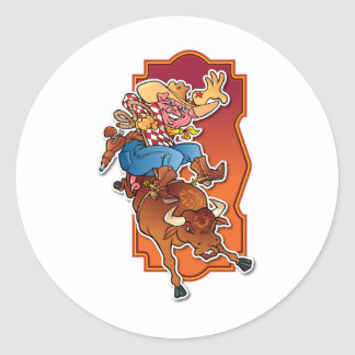 Bronco Pig Classic Round Sticker