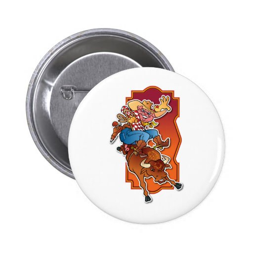 Bronco Pig Pinback Button