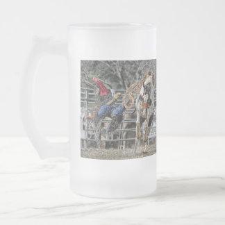 Bronco Rider Frosted Stein Coffee Mug