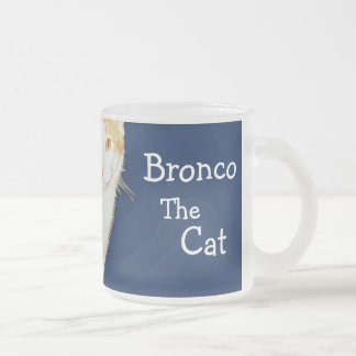 Bronco The Cat Frosted Glass Coffee Mug