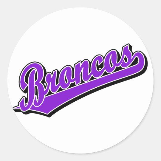 Broncos in Purple Classic Round Sticker