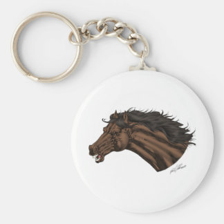 Broncos, Mustangs Horse's Head Logo art by Al Rio Keychains