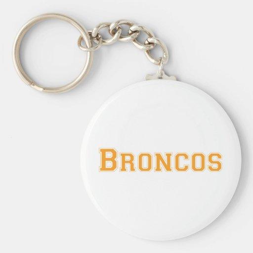 Broncos square logo in orange keychain