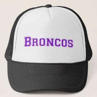 Broncos square logo in purple trucker hat