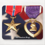 bronse star and purple heart mousepad